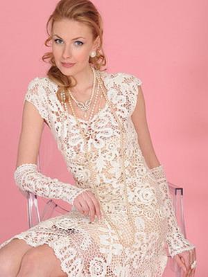 Короткие кружевные свадебные платья – фото