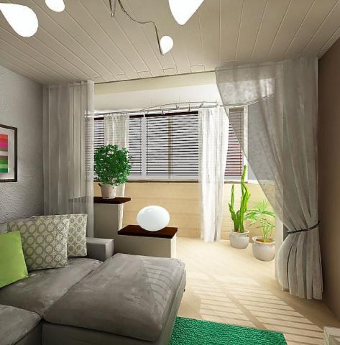 Дизайн гостиной с балконом