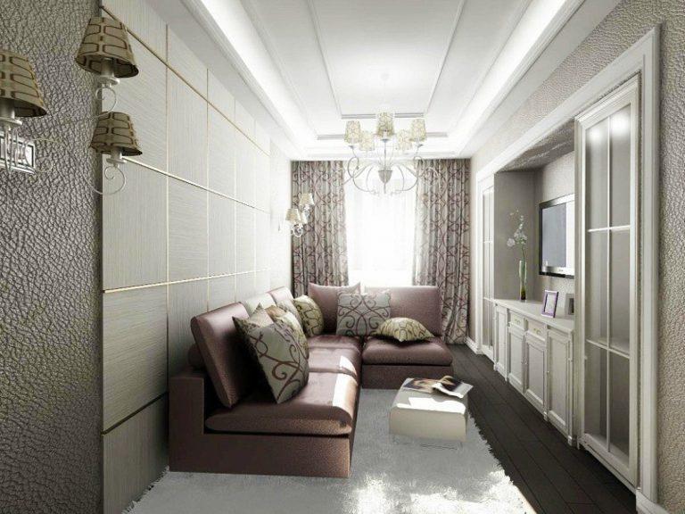 Дизайн гостиной узкой