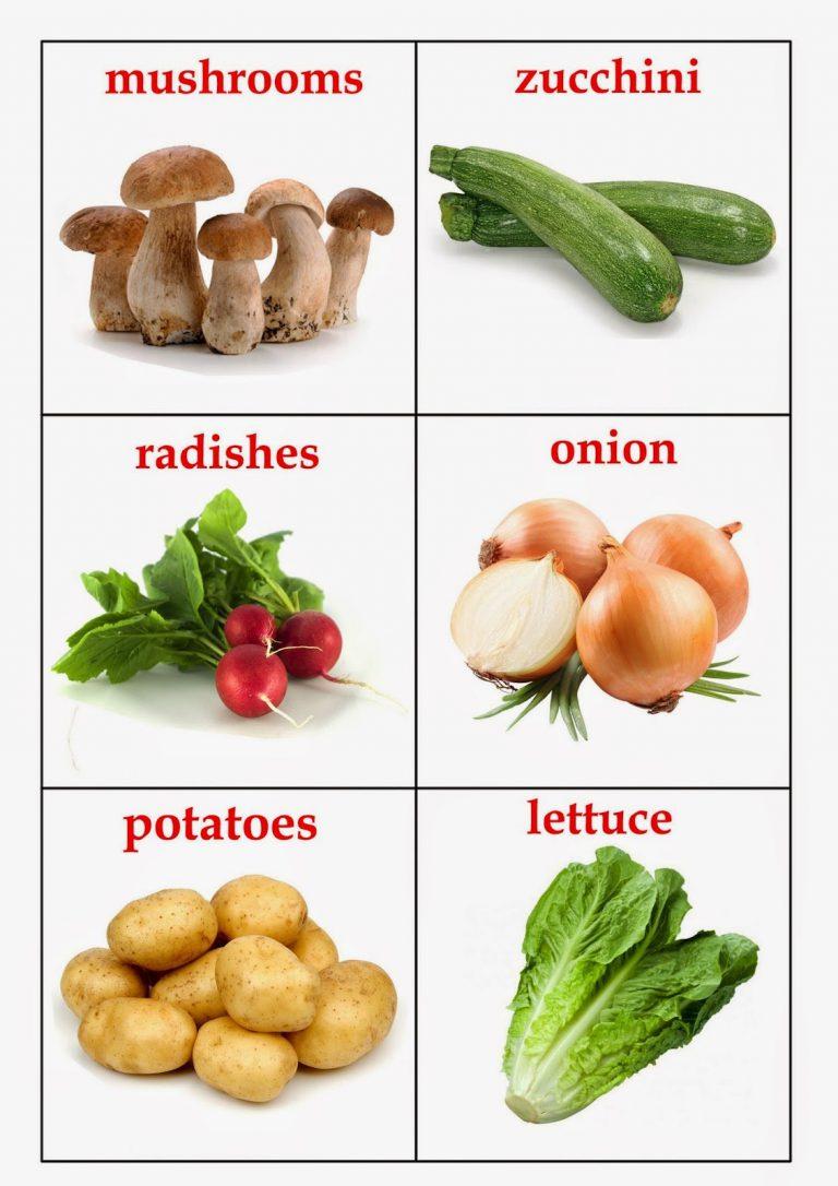 Карточки Овощи на английском языке